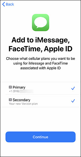 Select the cellular plan(s) used for iMessage and FaceTime