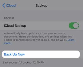 control Copia de seguridad en iCloud