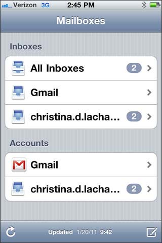 Select mail account or inbox