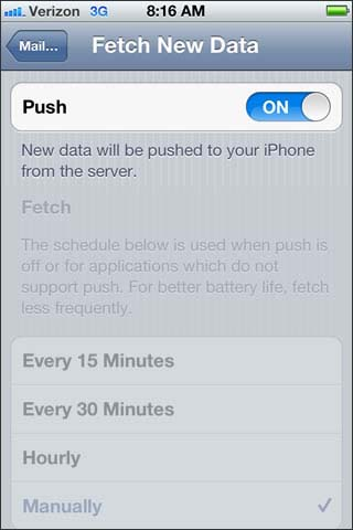 Enable disable Push