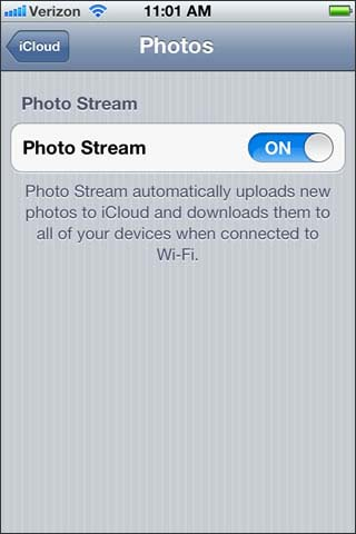 Enable disable photo stream