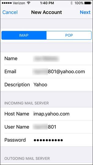 Pantalla de configuración de email