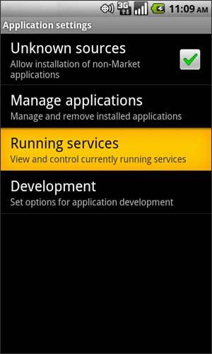 Applications con opción Running services