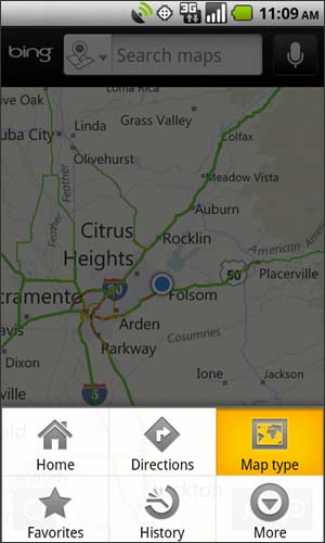 Bing Maps menu with Map type