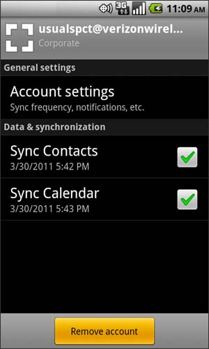 Exchange ActiveSync account with Remove account