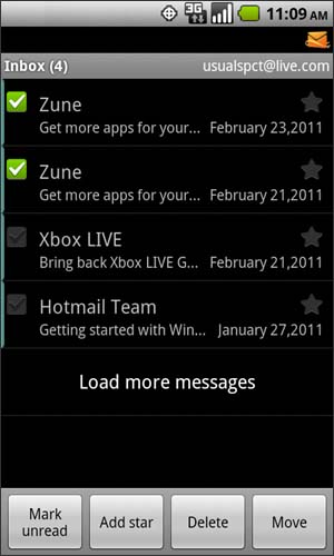 Inbox with available messages