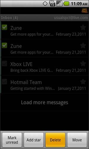 Inbox con opción Delete