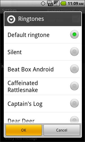Ringtones con opciones disponibles