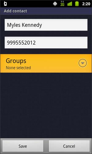 Add contact with Groups