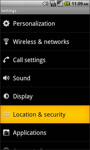Settings with Location & Security