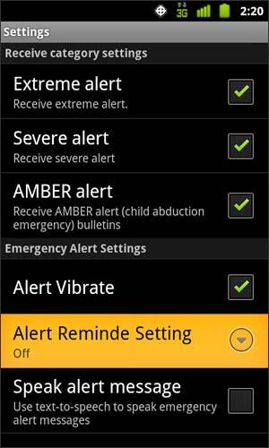 Configuración del recordatorio de la alerta