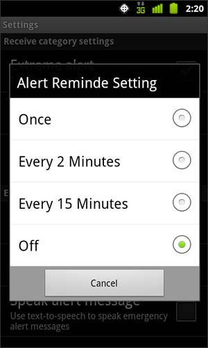 Alert Reminder Setting with available options