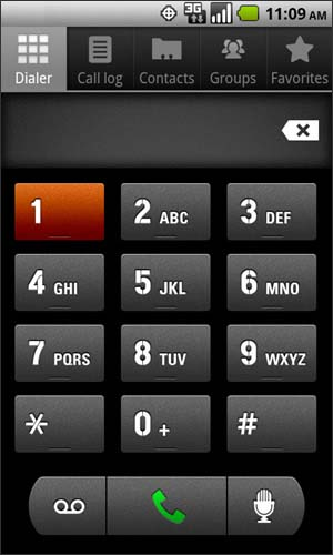 Dialer tab with 1