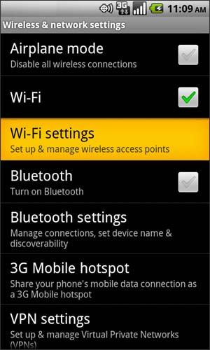 Wireless & Networks con Wi-Fi Settings