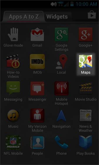 Apps Screen select Maps