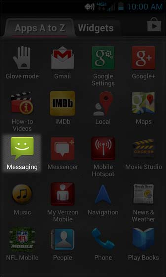 Apps Screen select Messaging