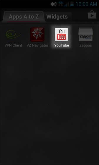 Apps Screen select YouTube