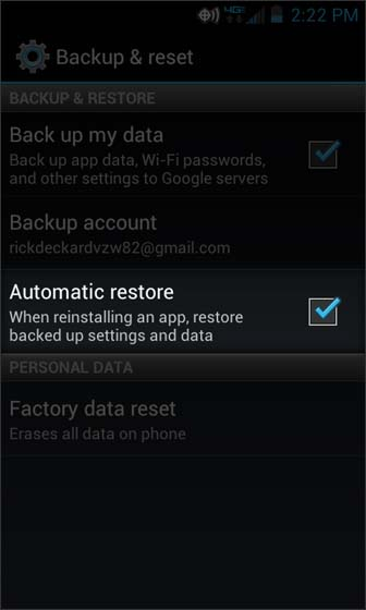 Backup & reset select Automatic restore