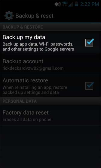 En Backup & reset, seleccionar Back up my data