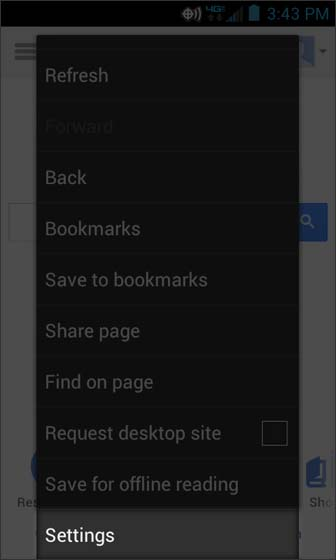 Browser Menu select Settings