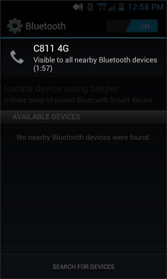 Bluetooth view C811 4G (your device) is discoverable