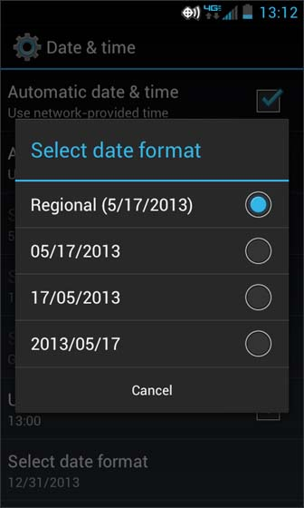 Date & Time Select date format select from the available options