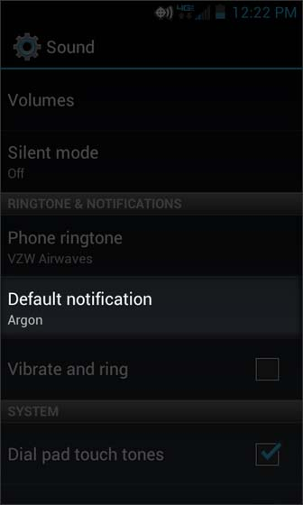 Sound settings select Default notification