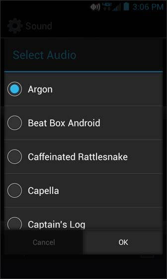 Ringtones select from the available options then select OK
