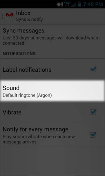 En Gmail, Settings, seleccionar Sound