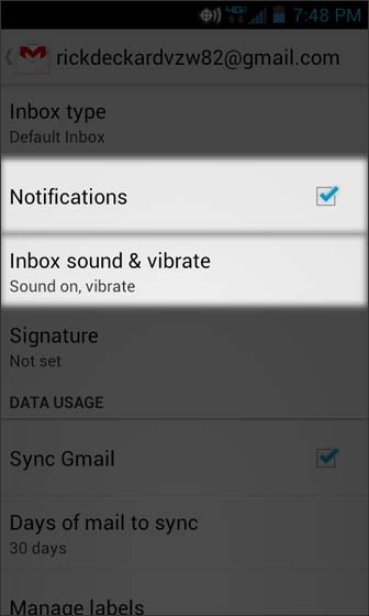 En Gmail, Settings, seleccionar Inbox sound & vibrate