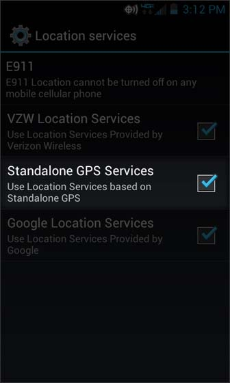 Location services select Standalone GPS services