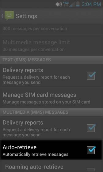 Messaging, Settings, selecciona Auto Retrieve