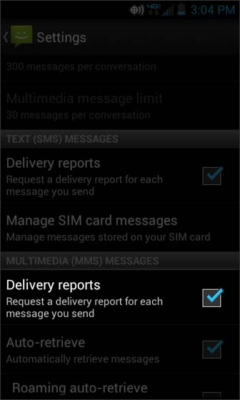 Messaging Settings select MMS Delivery Reports