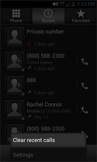Phone, Menu, selecciona Clear recent calls