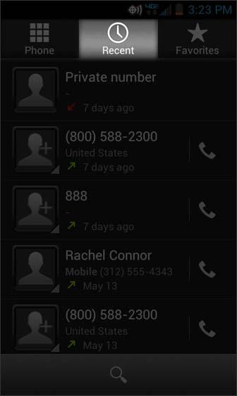 Phone, seleccionar Recent