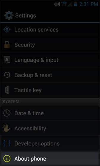 Settings select About phone