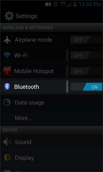 Settings select Bluetooth