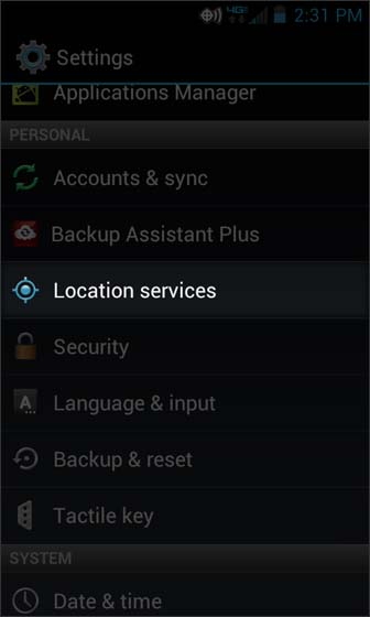 Settings select Location services