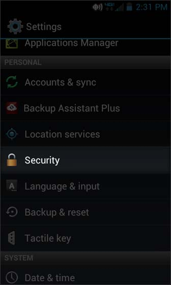 Settings select Security