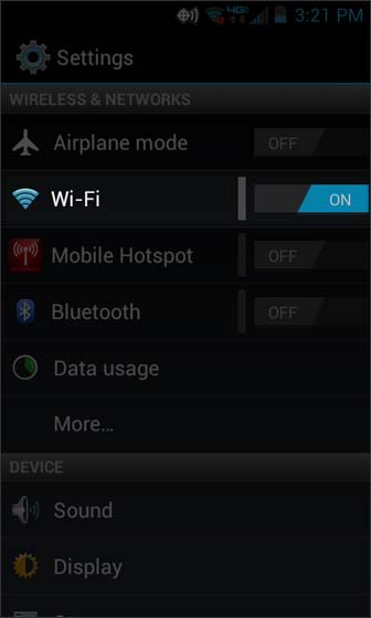 Settings select Wi-Fi