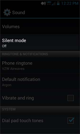 Sound select Silent Mode