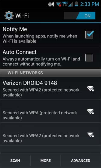 Wi-Fi settings select from the available Wi-Fi networks