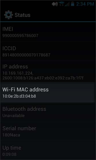 Status select Wi-Fi Mac Address