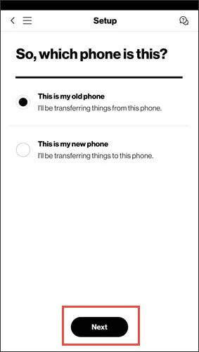Choose old or new phone
