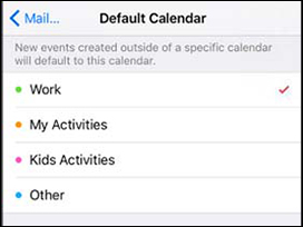 Default calendar select screen