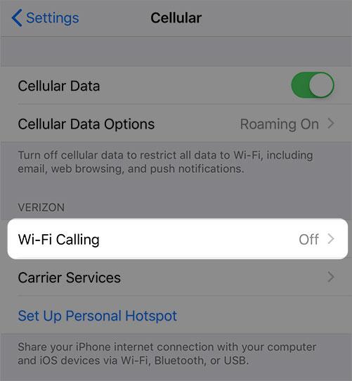 Configuraciones de llamadas Wi-Fi