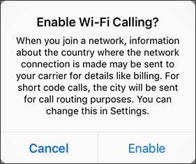 Wi-Fi Calling pop-up