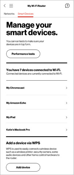 My Verizon app Smart Devices tab add Device via WPS