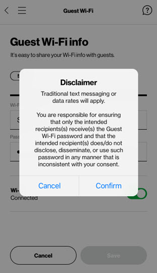 Share Guest Wi-Fi Disclaimer