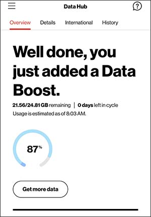 Data Boost confirmation screen